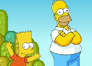 Bart and Homer in Mario World